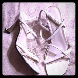 Shoes - Strappy white sandal heels